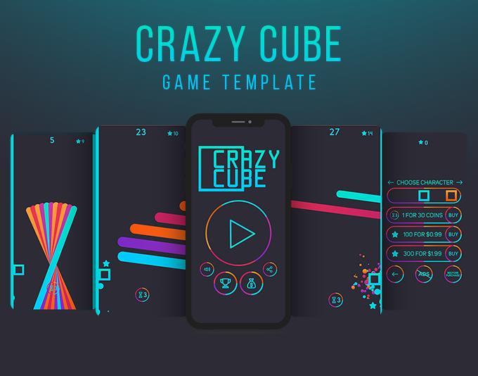 Crazy Cube (IOS) Fun Arcade Game Template + easy to reskine + AdMob - 3